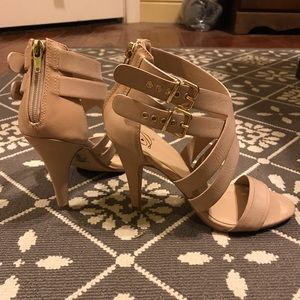 Nude Taupe Strappy Heels with Zippers